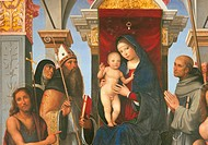 Madonna and Child with Sts John the Baptist, Monica, Augustine, Francis and Proculus, by Francesco Raibolini known as Francia, 1490 about, 15th Centur...