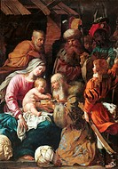 Adoration of the Magi, by Luigi Miradori know as il Genovesino, 1640 about, 17th Century. Italy, Emilia Romagna, Parma, National Gallery. All. Holy Fa...