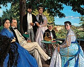 Family Reunion, by Jean_Frdric Bazille, 1867, 19th Century, oil on canvas, cm 152 x 230. France, Ile de France, Paris, Muse dOrsay, RF 2749. Detail. F...