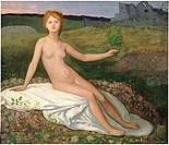Hope, by Pierre Puvis de Chavannes, 1872 about, 19th Century, oil on canvas, cm 70 x 82. France, Ile de France, Paris, Muse dOrsay, INV20117. All. You...