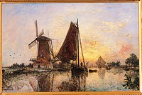 Boats by the Mill, by Unknown Artist, 1868, 19th Century, oil on canvas, cm 52,5 x 81,3. France, Ile de France, Paris, Muse dOrsay. All. Boats by the ...