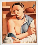 Woman with Folded Arms, by Massimo Campigli, 1924, 20th Century, oil on canvas, cm 55 x 46. Italy, Piemonte, Turin, Modern Art Gallery. Nude breast th...