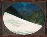 Ice of the Forni, by Angelo Morbelli, 1914, 20th Century. Italy, Private Collection. Mountains glazier snow oval frame valley.