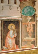 The Prayer before the Crucifix of St Damian, by Giotto, 1297 _ 1299, 13th Century, fresco, cm 270 x 230. Italy, Umbria, Perugia, Assisi, Upper Basilic...