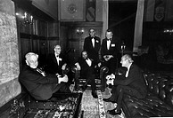 US scientists and National Academy of Sciences NAS medallists. From left to right: British_US zoologist George Evelyn Hutchinson 1903_1991, US astroph...