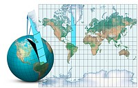 Mercator map projection. Diagram of an Earth globe left and a Mercator map projection right with the blue strip from South America to Greenland showin...