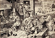 Alchemist at work. 16th_century artwork showing an alchemist left at work. He is seated at a stove, holding a large coin in one hand over a crucible, ...