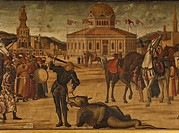 The Triumph of St George, by Vittore Carpaccio, 1504 _ 1507, 16th Century, oil on canvas, cm 141 x 360. Italy, Veneto, Venice, Scuola di San Giorgio d...