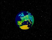Earth graphic. Abstract computer image showing the Earth centred on an enlarged Europe, set against a starfield background.