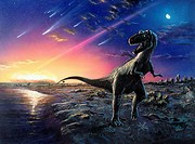 Asteroid strike. Artwork of the dinosaur Tyrannosaurus rex fleeing from an asteroid impact. The impact occurred about 65 million years ago at the end ...