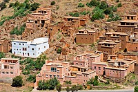 Typical traditional village with brightly painted houses of the Berber in the Anti-Atlas Mountains, southern Morocco, Morocco, Africa