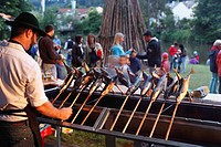 Man barbecuing Steckerlfisch, fish on sticks, on a grill, Midsummer Festival, Wolfratshausen, Upper Bavaria, Bavaria, Germany, Europe, PublicGround