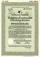 Debenture bond, 500 reichsmarks, municipal_bond, Kommunal_Obligation der Staatlichen Kreditanstalt Oldenburg_Bremen, 1940, Germany, Europe