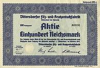 Historic stock certificate, 100 reichsmarks, Haeute und Felle, Dittersdorfer Filz- und Kratzentuchfabrik, Dittersdorf near Chemnitz, 1941, Germany, Eu...