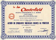 Historic stock certificate, Les bas Chesterfield, English period furniture, Boulogne-Billancourt, France, 1960