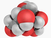 L_glucose, molecular model. Organic compound and an enantiomer of the more common D_glucose, from which it is indistinguishable in taste. Atoms are re...