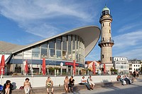 Teapot building and lighthouse, Warnemuende sea resort, Mecklenburg-Western Pomerania, Germany, Europe