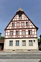 Half-timbered house, historic district, Rothenburg ob der Tauber, Bavaria, Germany, Europe