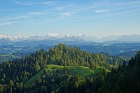 View from Traxelwald across the Emmental region to the Bernese Oberland, Canton Bern, Switzerland, Europe