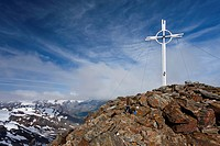 Summit cross on Zufrittspitze Mountain in Ulten Valley, above Weissbrunnsee lake, Alto Adige, Italy, Europe