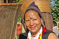 Woman in tribal dress at the annual Hornbill Festival in Kohima, India, Asia