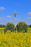 Wayside crucifix with a figure of Christ, Swabian Alb, Baden_Wuerttemberg, Germany, Europe, PublicGround