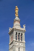 Tower of the church Notre-Dame de la Garde with the gilded statue Virgin and Child by Eugène Lequesne, Marseille, Département Bouches du Rhône, Région...