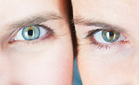 Close up of two womens eyes