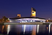 The Imperial War Museum North at night, Salford Quays,Manchester, England