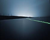 Light Trail over water near Dungeness Power Station