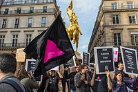 Paris, France, French Gay And Anti-AIDS N G O, Act Up-Paris, Protest against Extreme Right Political Party, the National Front, at Jeanne d'Arc Statue...