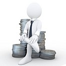 3D human sitting on a pile of coins