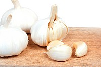 Fresh garlic on the wooden desk
