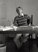 Susanna Agnelli photographed at her desk as mayor ofMonte Argentario, assigment that she had one year ago, withgreat commitment the third_born of Edoa...