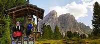 Dolls of an alpine farmers, man and woman, at Mount Peitlerkofel, Sasso delle Putia, with mountain forest at Wuerzjoch, Passo delle Erbe, Villnoess, F...