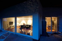 Modern detached house, blue hour, Kaiserstuhl, Baden-Wuerttemberg, Germany, Europe