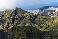 Þórsmoerk or Thorsmoerk mountain ridge, Icelandic highlands, Southern Iceland, Iceland, Europe