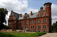 Schloss Bernstorf castle, built in 1881, modification into the Biohospiz Schloss Bernstorf in 2011, Bernstorff, Mecklenburg-Western Pomerania, Germany...