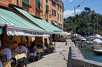 People in a harbour restaurant, Portofino, Liguria, Levante, Italy, Mediterranean sea, Europe
