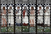 Statues of holy men, Art Nouveau stained glass window by Kolo Moser, Kirche Am Steinhof church, by Otto Wagner, Baumgartner Hoehe heights, Vienna, Aus...