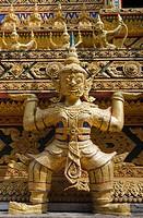Statue of a guardian, Wat Bang Riang temple, Thub Pat, Phang Nga, Thailand, Southeast Asia