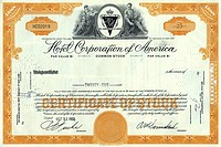 Historic share certificate, Hotel Corporation of America, HCA, hotel, motor hotel, restaurant, New York, 1958, USA