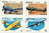 Historic stamps, Vietnam, aircrafts, 1986