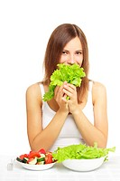 girl with vegetable salad