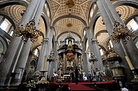 Interior and the main altar of Puebla Cathedral, Puebla, UNESCO World Heritage Site, Mexico, Latin America, North America