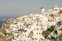 View of the village of Oia, Santorini Island, Cyclades, Greece, Europe
