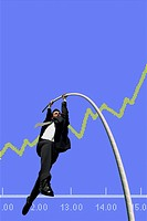 Businessman pole vaulting over a stock course, symbolic image