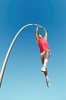 Athlete pole vaulting