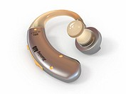 Hearing aid on white isolated background. 3d