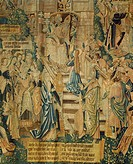 Detail of 16th century Flemish tapestry of the Life of the Virgin Mary, featuring Presentation of the Blessed Virgin Mary at the Temple.  Rheims, Pala...